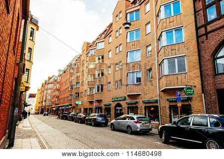 Malmo, Sweden - January 4, 2015: Street With Old Nice Colorful Houses In Historical Center Of Malmo,