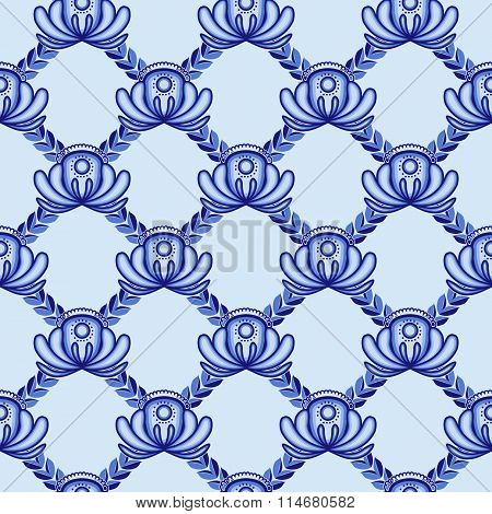 Lattice From Blue Flowers And Leaves. A Seamless Pattern In The Gzhel Style.