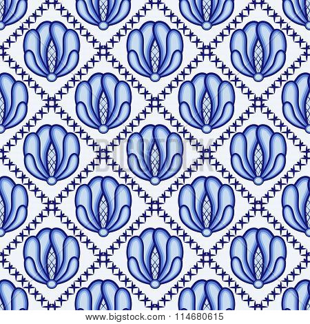 Continuous Flower Pattern In Style Gzhel. Lattice And Large Blue Flowers. A Background For Design.