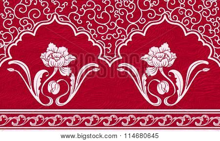 Repeating Pattern With Motifs Of Chinese Painting. White Ornament And Flowers On A Red Textured Back