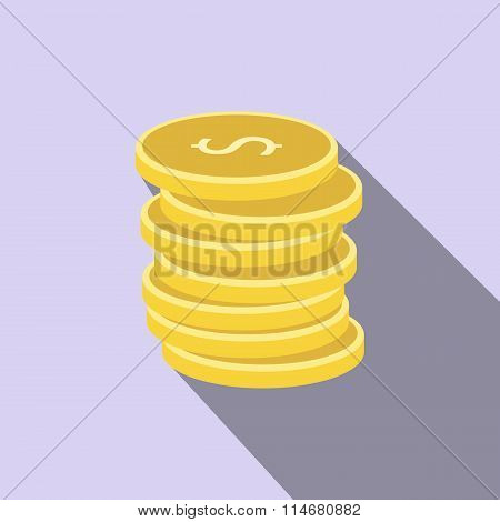 Stack of gold coins flat icon