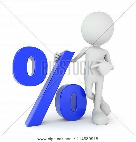 White 3D Human - Blue Percentage Symbol