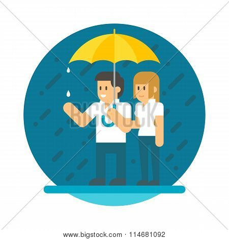 Flat Design Couple In The Rain