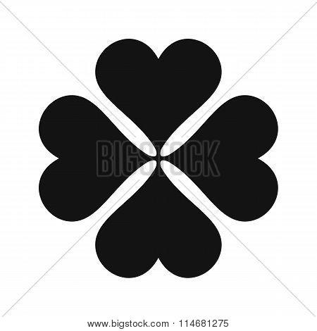 Four-leaf clover black simple icon