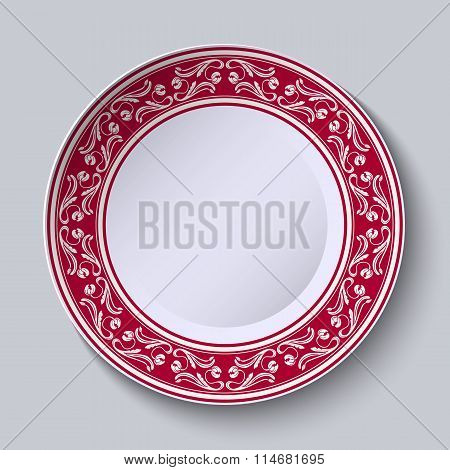 Decorative Plate With Floral Painting On The Edge Of The Ethnic Oriental Style, Isolated On Gray Bac