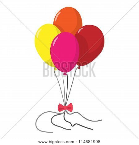 4 balloons cartoon icon