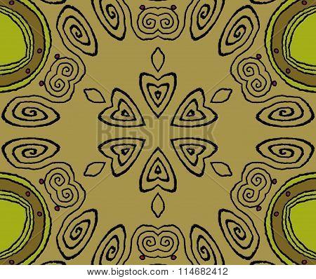 Seamless spiral pattern gold brown green