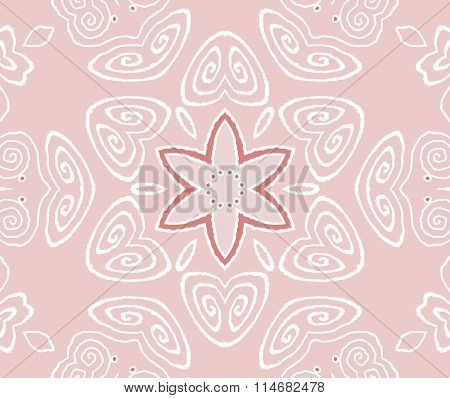 Seamless floral pattern pink white red