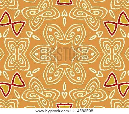 Seamless floral pattern orange white red