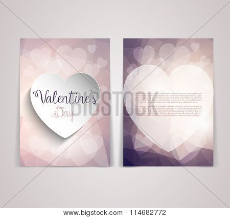 Double sided Valentine's Day flyer template with a low poly design