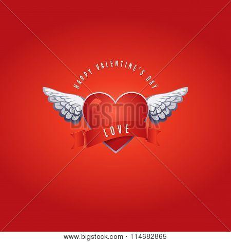 Vector Valentine's day card with original volumetric design