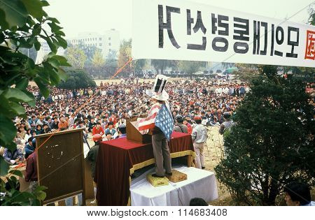 Speaker at a Political Demonstration