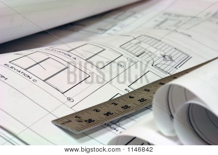Blue Print Building Plans With Ruler