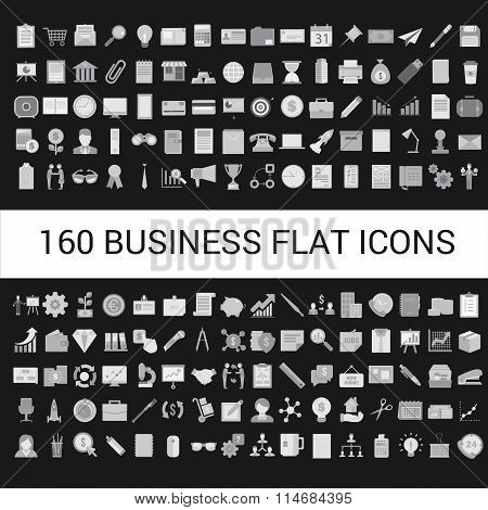 160 Business Flat Icons Collection