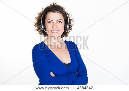 Smiling Call Center Woman Ready For Support And Contact, Isolated On White Background