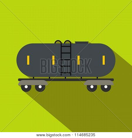 Railroad gasoline and oil tank flat icon