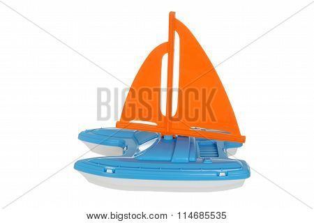 isolated toy sail boat