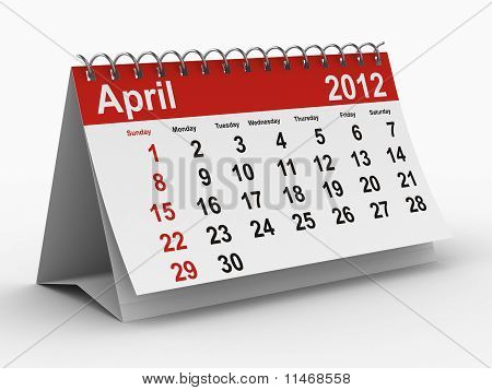 2012 Year Calendar. April. Isolated 3D Image