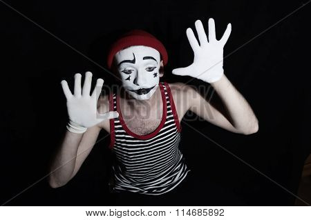 Sad Mime On Black