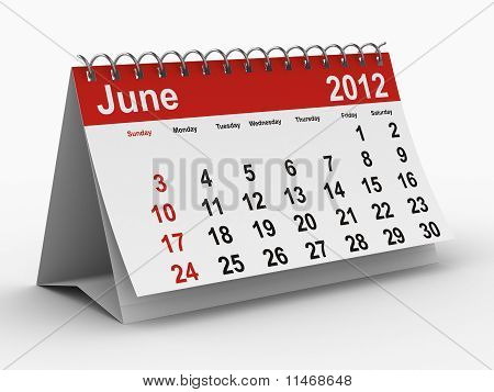 2012 Year Calendar. June. Isolated 3D Image