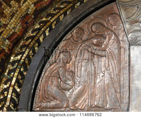 ZAGREB, CROATIA - DECEMBER 07: Visitation of the Virgin Mary, altar of the Virgin Mary in the church of Saint Blaise in Zagreb, Croatia on December 07, 2011