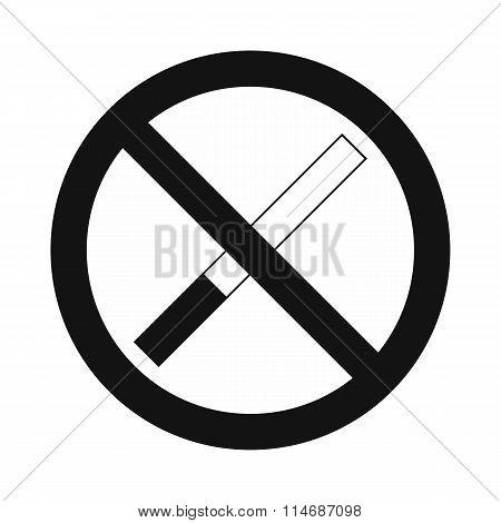 No smoking sign black simple icon
