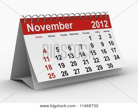 2012 Year Calendar. November.