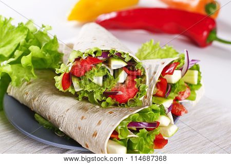 Vegetarian Salad Tortilla Wraps