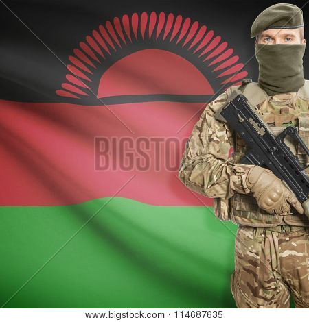 Soldier Holding Machine Gun With Flag On Background Series - Malawi