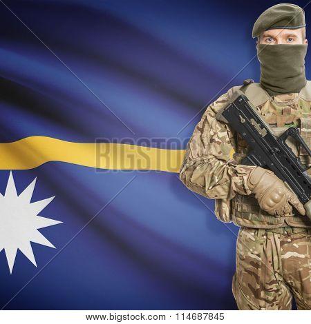 Soldier Holding Machine Gun With Flag On Background Series - Nauru