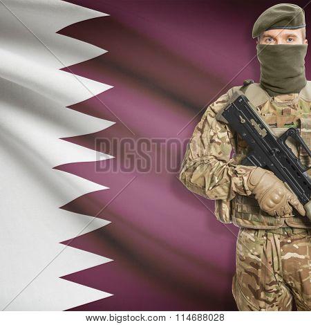 Soldier Holding Machine Gun With Flag On Background Series - Qatar