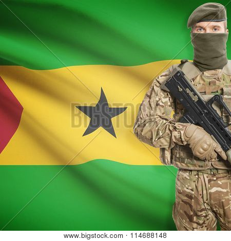 Soldier Holding Machine Gun With Flag On Background Series - Sao Tome And Principe