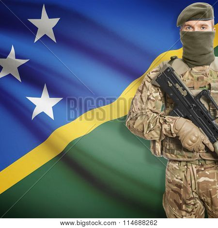 Soldier Holding Machine Gun With Flag On Background Series - Solomon Islands