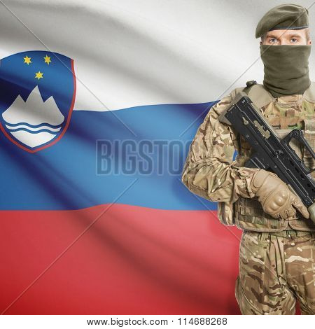 Soldier Holding Machine Gun With Flag On Background Series - Slovenia