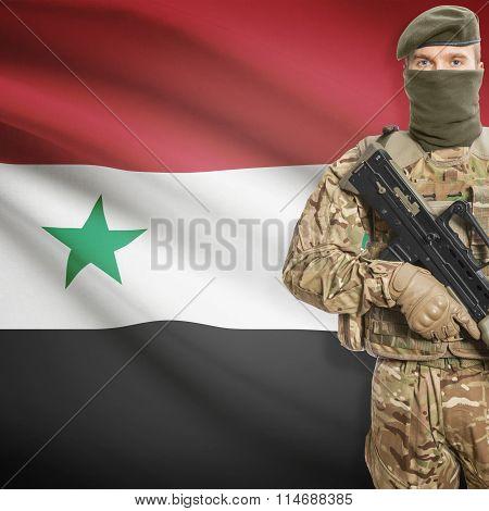 Soldier Holding Machine Gun With Flag On Background Series - Syria