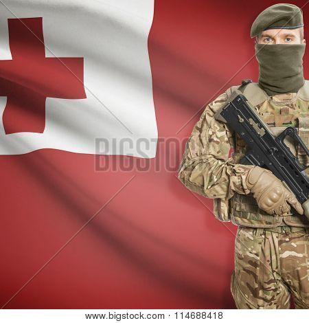 Soldier Holding Machine Gun With Flag On Background Series - Tonga