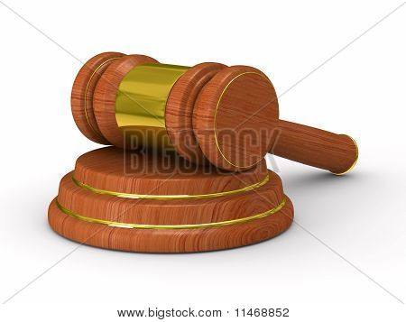 Auction Gavel On White.