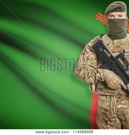 Soldier Holding Machine Gun With Flag On Background Series - Zambia