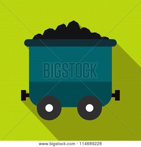 Coal trolley flat icon