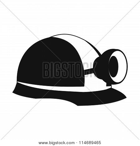Miners helmet with lamp icon