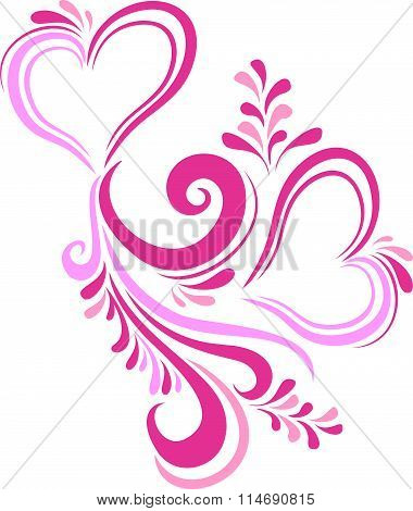 Stylized pink heart Valentine's day inscribed in the ornate pattern. Card on Valentine's day in