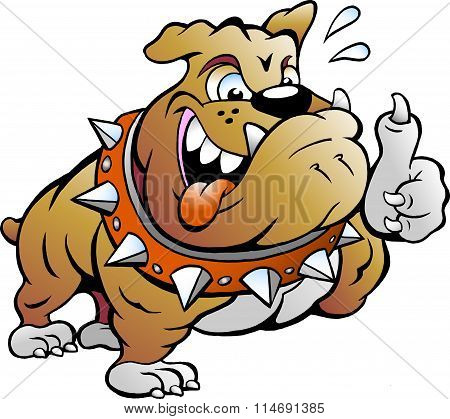 Vector Cartoon Illustration Of An Excited Strong Muscular Bull Dog Giving Thumb Up