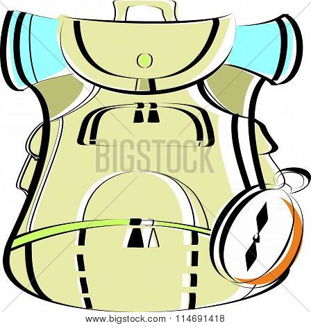 Beige large rucksack with a compass. Travel backpack for Hiking in the vector
