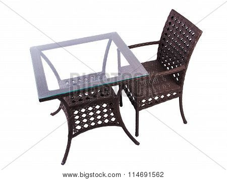 Tables and chairs artificial rattan
