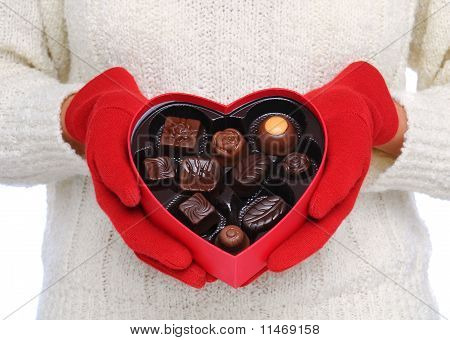 Woman Holding Red Valentine Heart