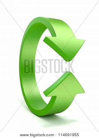 Green vertical rotation arrow sign. 3D