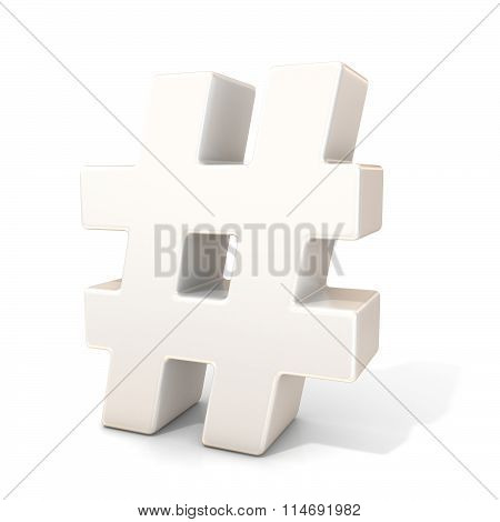 Hashtag number mark 3D white sign