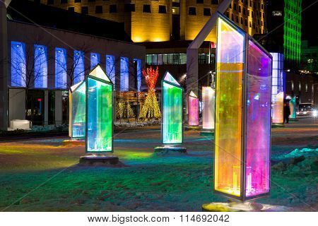 MONTREAL, CANADA -23 January 2015: Luminotherapie art installation, Prismatica, at Place des Festivals in Montreal'?s Quartier des Spectacles