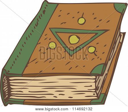Closed Book with Green and Brown Cover