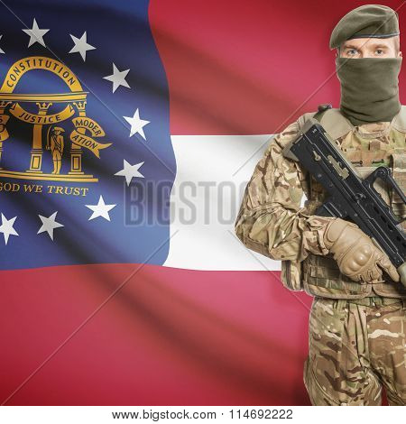 Soldier Holding Machine Gun With Usa State Flag On Background Series - Georgia